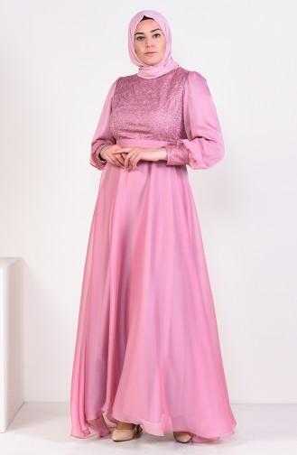 Large Size Lace Evening Dress 1298-02 Powder 1298-02