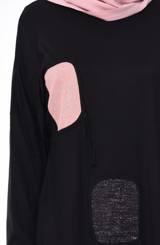 Yarasa Kol Yazlık Elbise 4550-01 Siyah