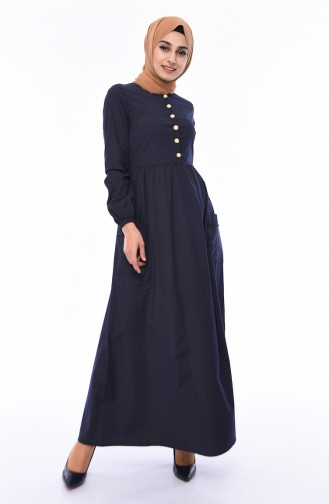 Pileli Elbise 1240-05 Koyu Lacivert Vizon 1240-05