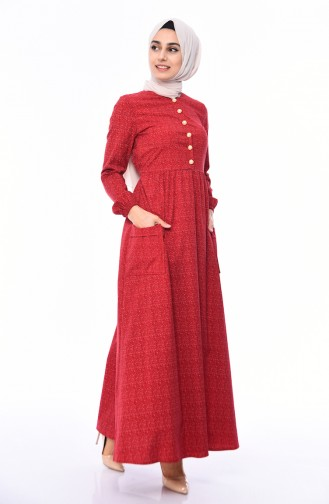 Pleated Dress 1242-03 Red 1242-03