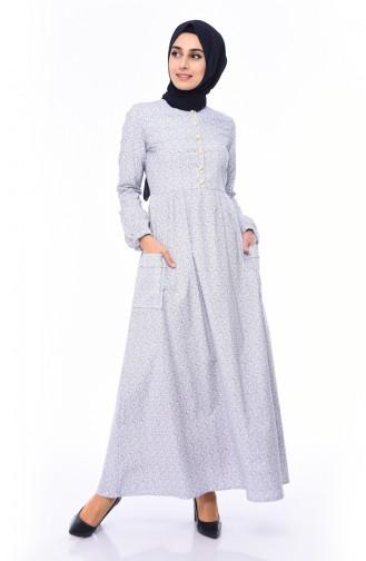 Pileli Elbise 1242-04 Beyaz 1242-04