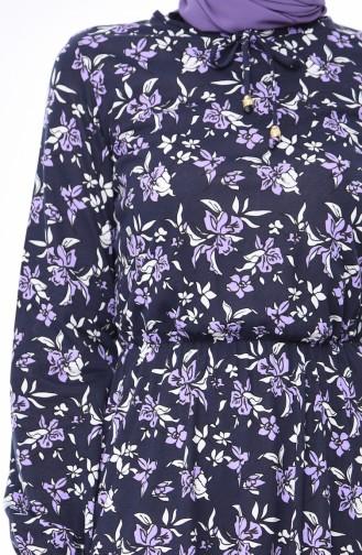 Sleeve Rubber Dress 1970-01 Lacivert Lilac 1970-01