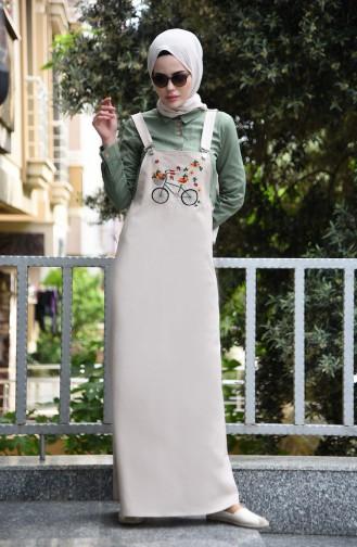Nakışlı Salopet Elbise 5023-03 Bej 5023-03