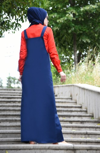 Dunkelblau Hijap Kleider 5023-04
