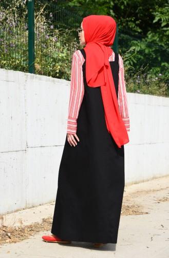 فستان سادة بتصميم بدون أكمام 5024-01 لون أسود 5024-01