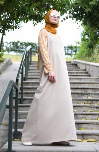 فستان سادة بتصميم بدون أكمام 5024-03 لون بيج 5024-03