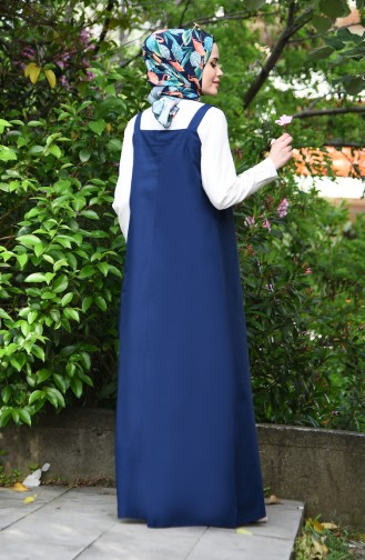 فستان سادة بتصميم بدون أكمام 5024-04 لون كحلي 5024-04