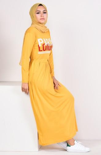 Mustard İslamitische Jurk 4206-01