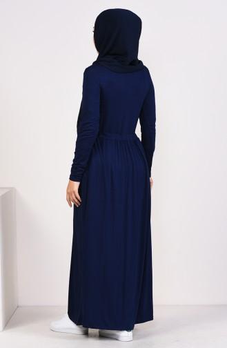 Dunkelblau Hijap Kleider 4206-03
