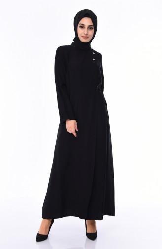 Linen Abaya  6824-04 Black 6824-04