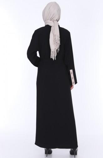 Abaya Kleid Doppel Set 7836-01 Schwarz 7836-01