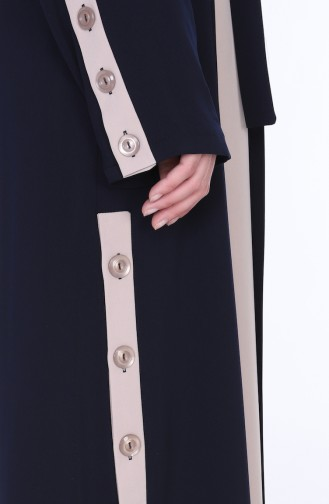 Abaya Elbise İkili Takım 7836-02 Lacivert 7836-02