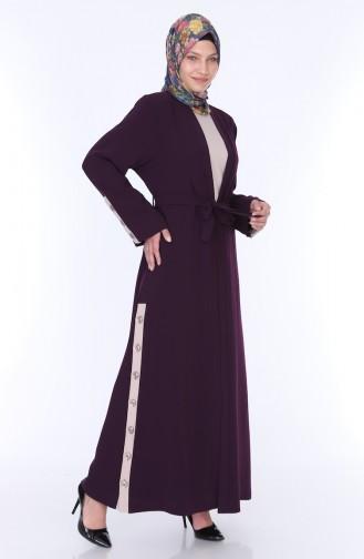 Abaya Elbise İkili Takım 7836-03 Mürdüm 7836-03