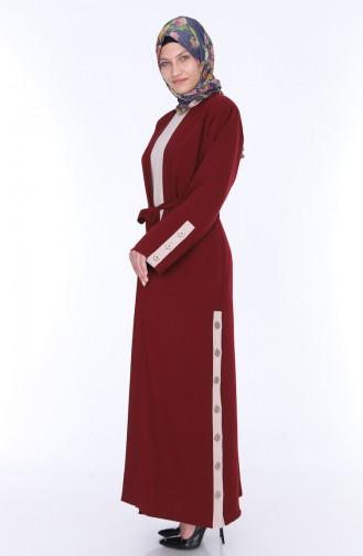 Abaya Dress Double Suit 7836-05 Bordeaux 7836-05