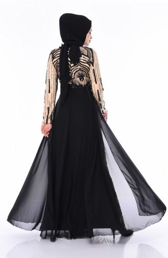 Sequined Evening Dress 0103-01 Black Beige 0103-01