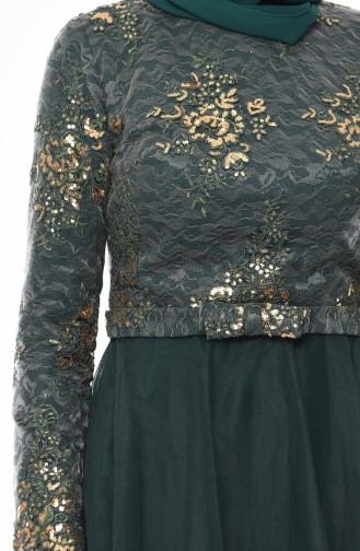 Robe de Soirée à Paillettes 4524-05  Vert émeraude 4524-05