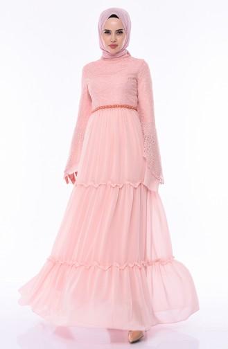 Lace Evening Dress 0049-02 Powder 0049-02
