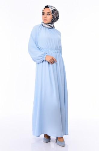 Lastikli Yazlık Elbise 1046B-03 Bebe Mavi 1046B-03