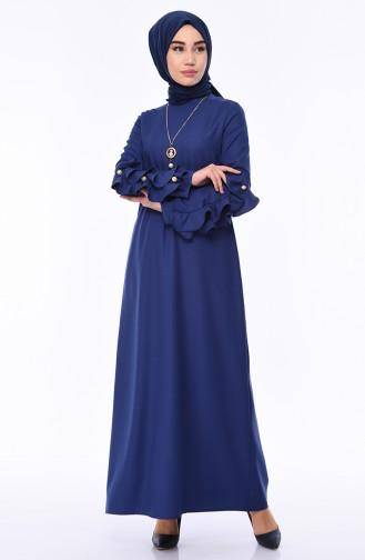 Kolu Fırfırlı İncili Elbise 1023-02 İndigo 1023-02