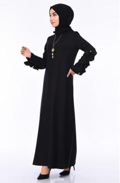 cba79d1433a24 Sefamerve, Kolu Fırfırlı İncili Elbise 1023-04 Siyah