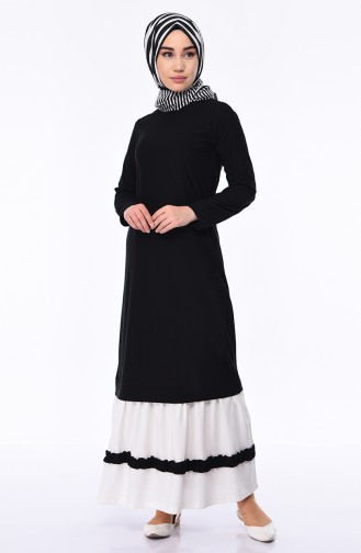 Ruffle Garnished Dress 4211-01 Black 4211-01