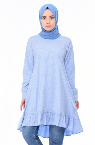Polka-dot Patterned Tunic 1245-05 Baby Blue 1245-05
