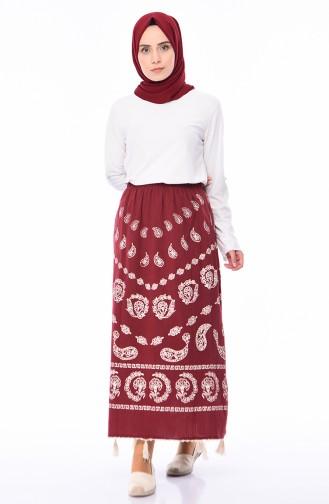 تنورة باريو من قماش شيلة 0200-04 لون احمر 0200-04