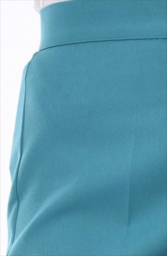 Düğmeli Düz Paça Pantolon 1102-16 Koyu Çağla Yeşil