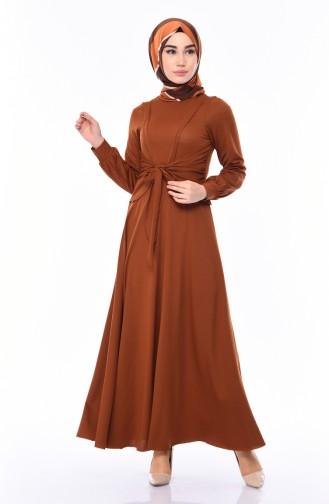 Tobacco Brown İslamitische Jurk 0157-05