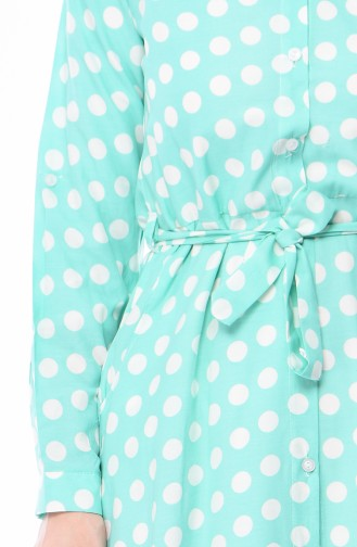 Polka Dot Long Tunic 9069C-01 Mint Green 9069C-01