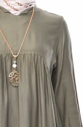 Tunique Froncée Avec Collier 2380-02 Khaki 2380-02