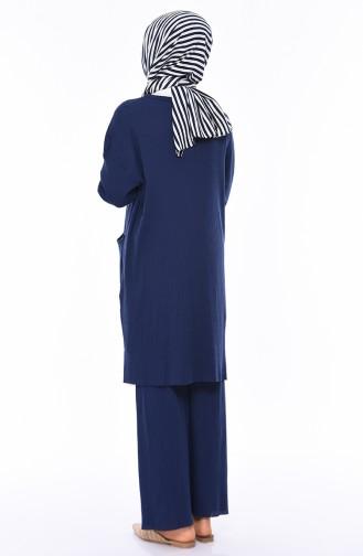 Asymmetrical Tunic Trousers Double Set 3314-13 İndigo 3314-13