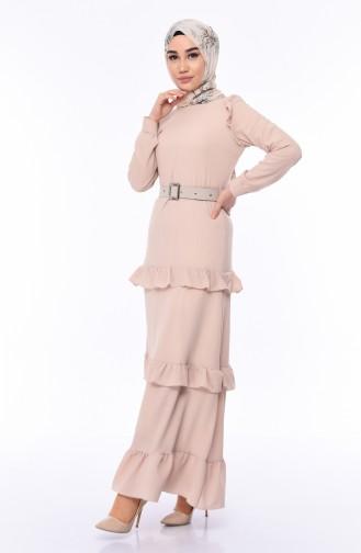 Kleid mit Gürtel 1192-04 Beige 1192-04