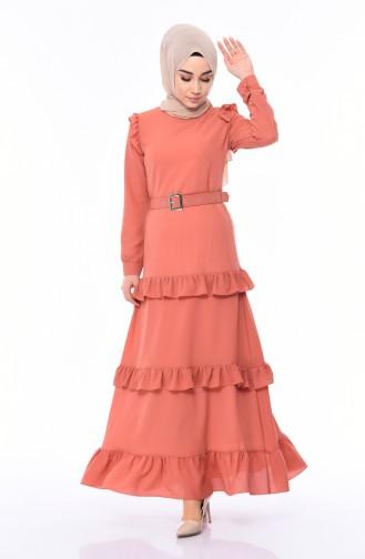 Kleid mit Gürtel 1192-05 Zweibelfarbig 1192-05