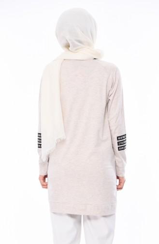 Baskılı Sweatshirt 5015-06 Bej 5015-06