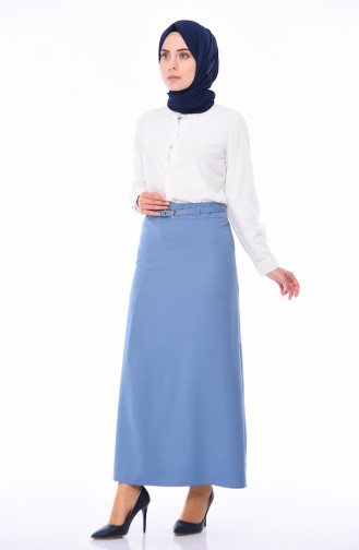 Belted Pencil Skirt 0415-02 Blue 0415-02