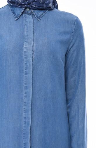 Gizli Düğmeli Kot Ferace 5165-01 Kot Mavi 5165-01
