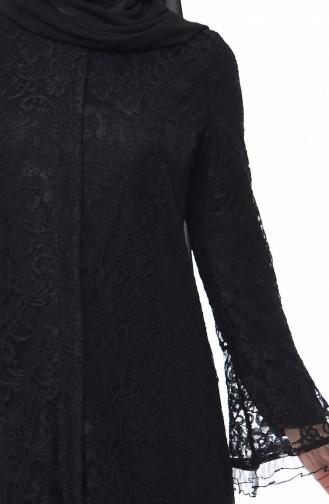 Lace Overlay Abaya 0012-01 Black 0012-01