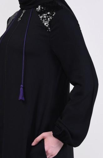 Sequin Detail Long Cape 1033-01 Black 1033-01