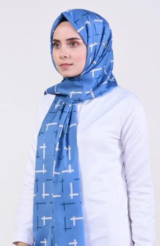Patterned Bursa Silk Shawl 13011-06 Indigo 13011-06