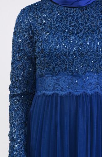 Sequin Detail Evening Dress 52757-07 Petrol 52757-07