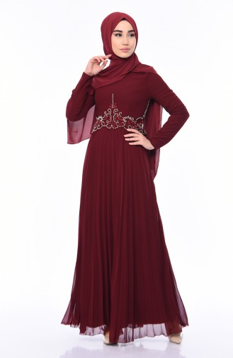 Beaded Embroidery Evening Dress 8004-01 Claret Red 8004-01