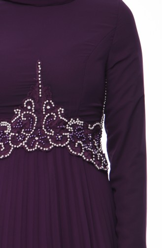 Beaded Embroidery Evening Dress 8004-02 Purple 8004-02