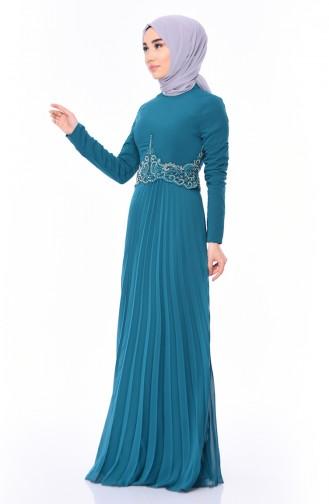 Boncuk İşlemeli Abiye Elbise 8004-05 Zümrüt Yeşili 8004-05