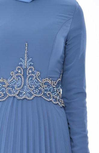 Beading Embroidered Evening Dress 8004-06 Indigo 8004-06