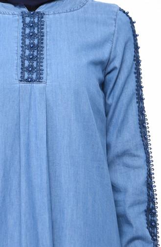 İncili Kot Elbise 9270-02 Kot Mavi 9270-02