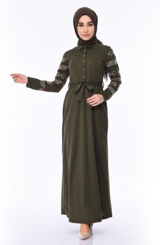 bd80b85a59e08 Sefamerve, Kolu Nakışlı Elbise 4070-02 Haki