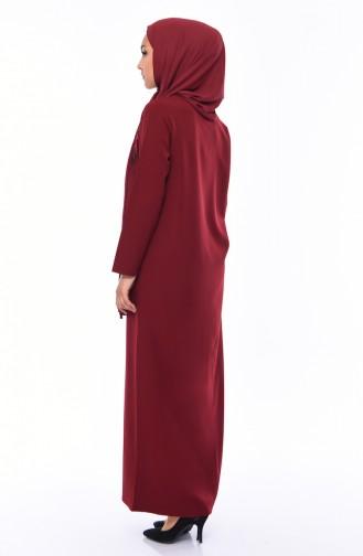 Abaya mit Applique Reissverschluss 99214-02 Dunkel Weinrot 99214-02