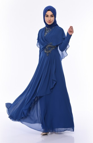 Indigo İslamitische Avondjurk 8008-04