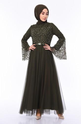 Khaki İslamitische Avondjurk 81663-03